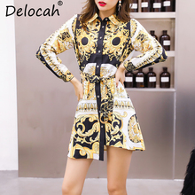 цены Delocah Autumn Women Dress Runway Fashion Designer Long Sleeve Gorgeous Sashes Vintage Printrd Slim Asymmetrical Lady Dress