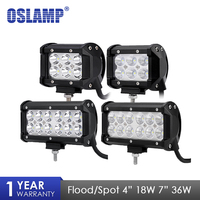 Oslamp 36W 7 Flood Spot Beam LED Work Light Bar Offroad 12V 24V 4x4 4WD LED