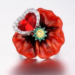 Image 4 - SANTUZZA Silver Flower Rings For Women 925 Sterling Silver Creative Red Rose Flower Ring Fashion Jewelry Handmade Enamel