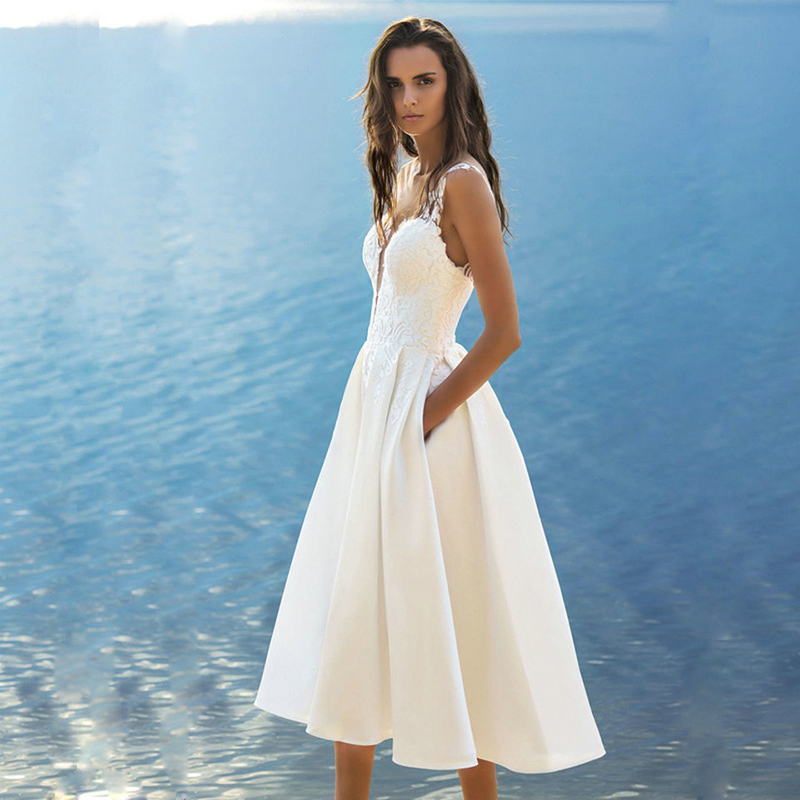 Verngo Simple White   Evening     Dresses   Vintage Tea-Length Formal   Dress   V- Neck Vestido De Noche