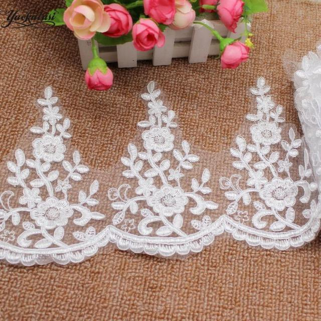 Lace Trim Ivory Tulle Exquisite Rose Flower Embroidery Wedding Fabric Bride Headwear Veil Lace 10.4 width 1 yard