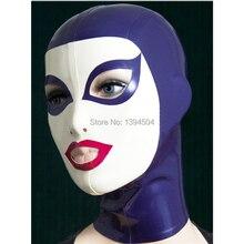 exotic New arrival women Handmade Customized Latex Hoods spliced color Hot Fetish Mask Heroine female mask Headgear Zentai