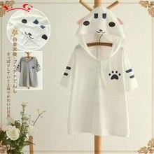 Cute cat ears printing short sleeve white kawaii Hooded T-shirt tee top mori girl 2016 summer