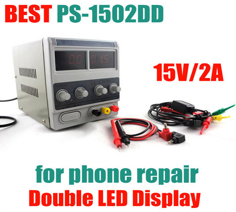 ФОТО PS-1502DD 15V 2A Double LED Display Stable Voltage DC Power Supply Phones Adjustable Digital Regulated power