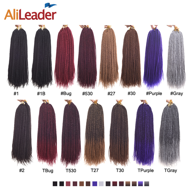 """AliLeader 30 Strands Braids Twist Crochet Hair Extensions 1-10 Packs Ombre Synthetic Crochet Senegalese Twist Hair 18"""""""