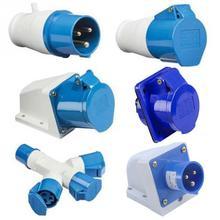 NEW Blue 240V 16 AMP 3 PIN Indudtrial Site Plug & Sockets IP44 2P+E Male/Female