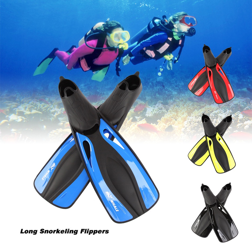 Whale Professional Diving Fins for Adults Underwater Snorkeling Swimming fins Long Flexible Flippers Submersible Shoe Diving Equipment