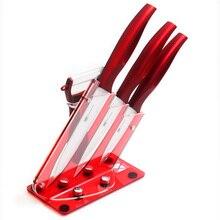 XYJ Marke 3, 4, 5 Zoll Schäl Zoll-dienstprogramm Slicing Keramikmesser Plus Schäler Und Rot Acryl Funktionalität Küchenmesser Halter Set