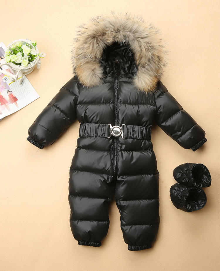 Baby Snowsuit children winter Jumpsuit duck down baby Rompers fur infant girls boys Overalls hooded kids snowsuits with shoes 2016 winter boys ski suit set children s snowsuit for baby girl snow overalls ntural fur down jackets trousers clothing sets