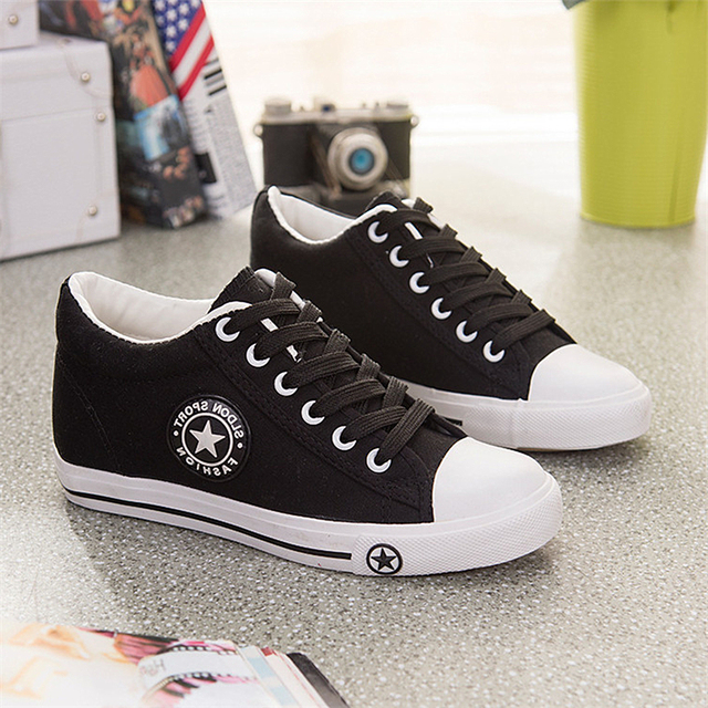 Summer Sneakers Wedges Canvas Shoes Women Casual Shoes Female Cute White Basket Stars