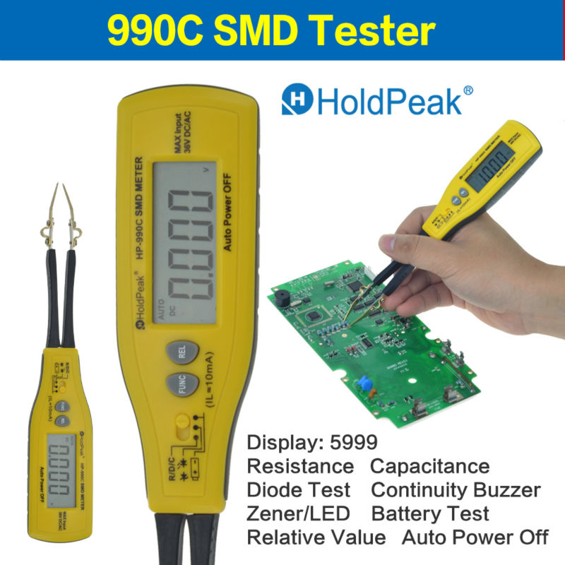 HoldPeak Resistance Capacitance SMD Meter Battery Tester Relafive Value 990C Multimeter Auto Power Off