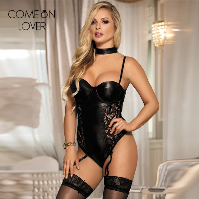 707809fbec Comeonlover Faux leather hollow out sexy body suit backless 3XL 5XL plus  size bodysuit women black lace sexy lingerie bodysuit