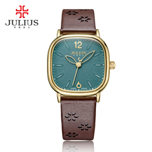 ליידי נשים של שעון יפן קוורץ שעות שעון בסדר אופנה שמלת צמיד אמיתי עור גדול כיכר ילדה יום הולדת מתנה יוליוס 970