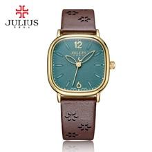 Senhora relógio feminino japão horas de quartzo relógio fino moda vestido pulseira de couro real grande quadrado menina presente aniversário julius 970