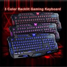 Reliable  3 Colors Keyboard Crack Illuminated LED Backlight USB Wired Multimedia PC Gaming Keyboard Big keys