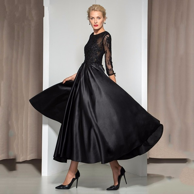 Vintage Black Three Quarter Sleeves Evening Dress 2016