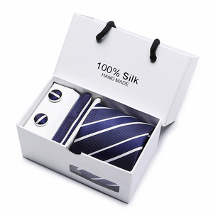 Image 3 - 2 pcs/lot 3.35inch(7 Cm) Wide Ensemble Silver Paisley Man Tie, Handkerchief and Cufflinks Gift Box Packing Many Color