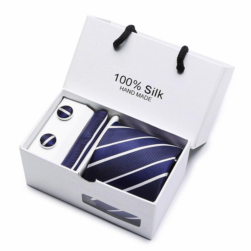 Image 3 - 2 pièces/lot 3.35 pouces (7 Cm) large Ensemble argent Paisley homme cravate, mouchoir et boutons de manchette boîte cadeau emballage beaucoup de couleur-in Cravates et mouchoirs homme from Accessoires de vêtements on AliExpress