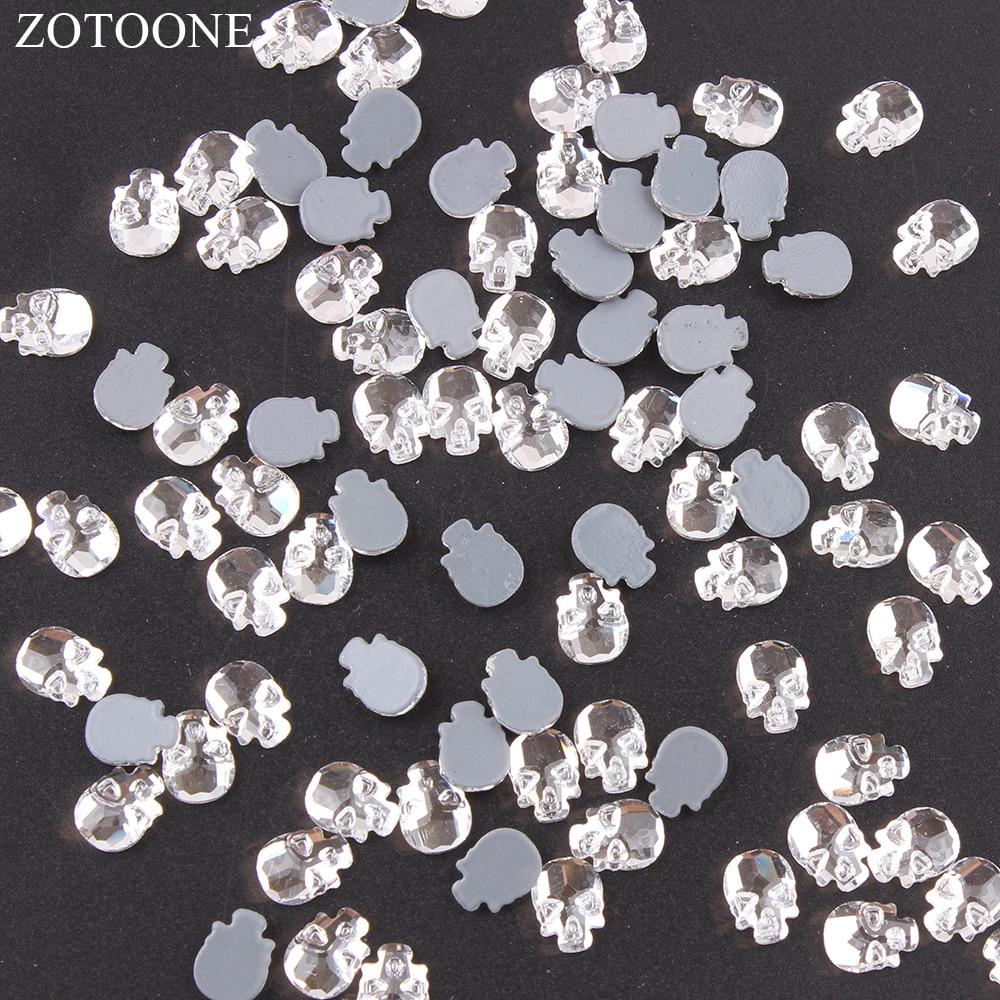 ZOTOONE 50pcs 7.8 11mm DIY Skull Rhinestones Glass on Clothes Self-adhesive Rhinestones  Nail 54b0d8732c79