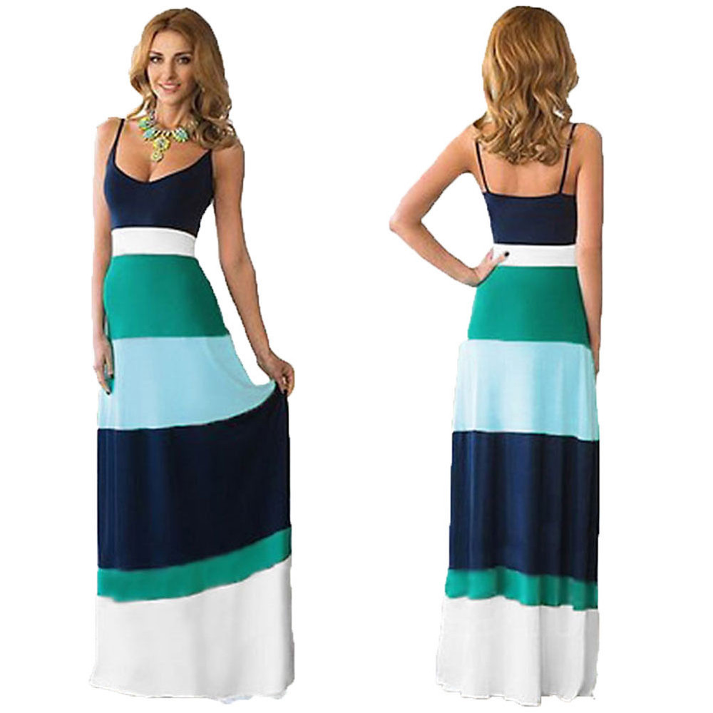 13c9122512b52 US $10.44 8% OFF|2019 Women Summer Dress Sexy Casual Boho Long Maxi Dress  Elegant Evening Party Beach Striped Dresses Vest Sundress New Hot-in  Dresses ...