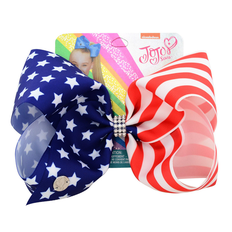 "8"" USA Flag JoJo Bows Hair Clip Large Hair Bow Kids Handmade Ribbon Knot Jumbo JOJO SIWA Hair Accessories for Girl(China)"