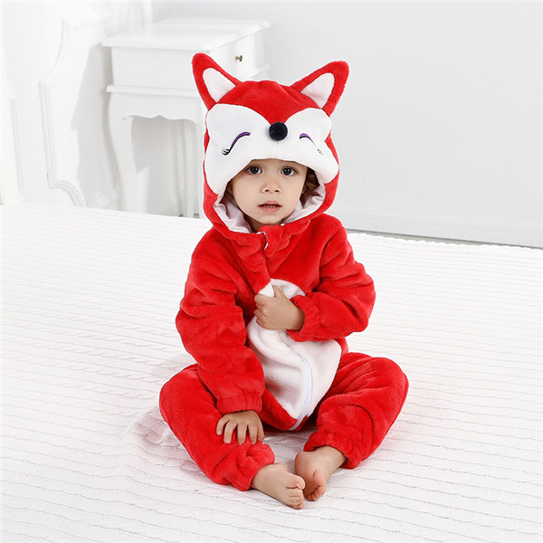Infant Baby Girl Boy   Rompers   Flannel Cartoon Panta Fox Winter Animal Jumpsuit Baby Long Sleeve Hooded   rompers   Bebe baby Clothing
