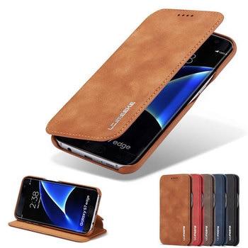 31dbd154f61 CMAI2 de lujo Funda de cuero para Samsung Galaxy S9 S8 más S7 borde S9 Plus  silicona caso, Flip magnético cubierta S10 plus cartera caso