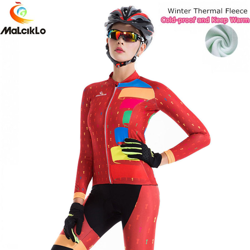 Malciklo 2018 Winter Warm Cycling Clothing Women Bike Clothes Wear MTB Bicycle Jersey Set Maillot Ropa Ciclismo Invierno Suit