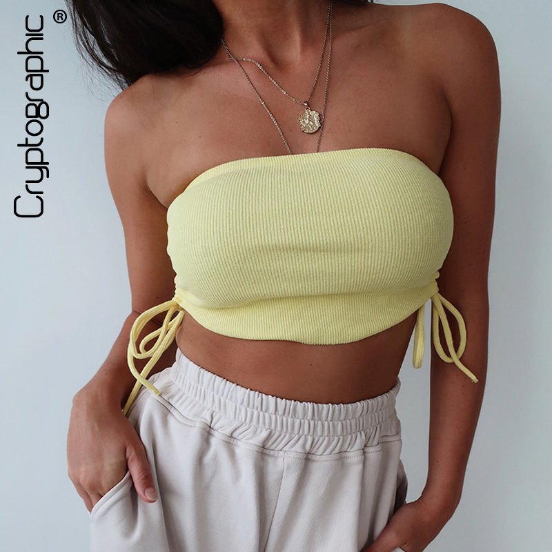 Cryptographic Ruched Drawstring Casual Sexy Strapless Tube   Tank     Tops   Sleeveless Summer Cropped   Top   Streetwear Cropped Feminino