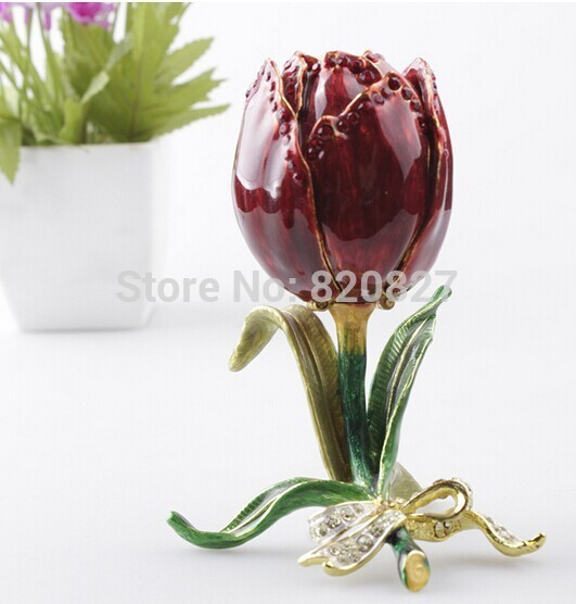 Free Shipping Red Rose Engagement Wedding Ring Earrings Keepsake Pendants Jewelry Gift Box