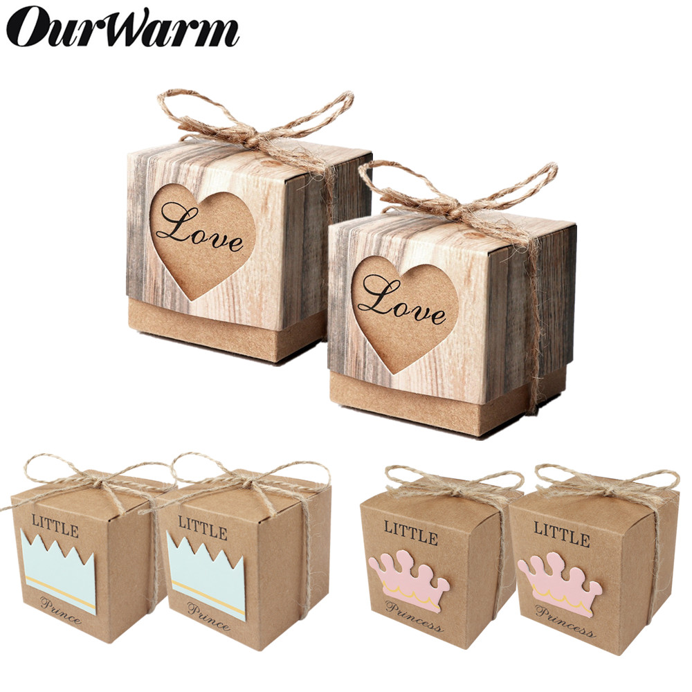 OurWarm 10pcs Kraft Paper Candy Gift Box Heart Crown Gifts Bags Party Favors For Guests Wedding Baby Shower Birthday Decoration