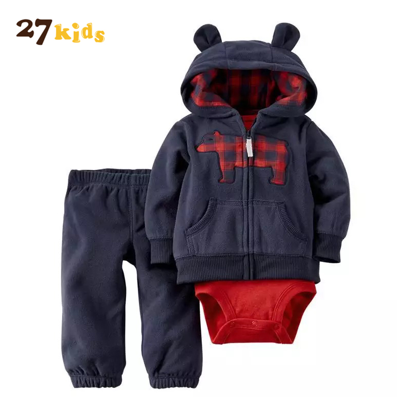 27Kids Clothes Set for Baby Romper Costume For Kids Clothes Hooded Cartoon NewBorn Bebies Romper Set Boy Clothing 3Pcs/Lot Suits 3pcs set newborn infant baby boy girl clothes 2017 summer short sleeve leopard floral romper bodysuit headband shoes outfits