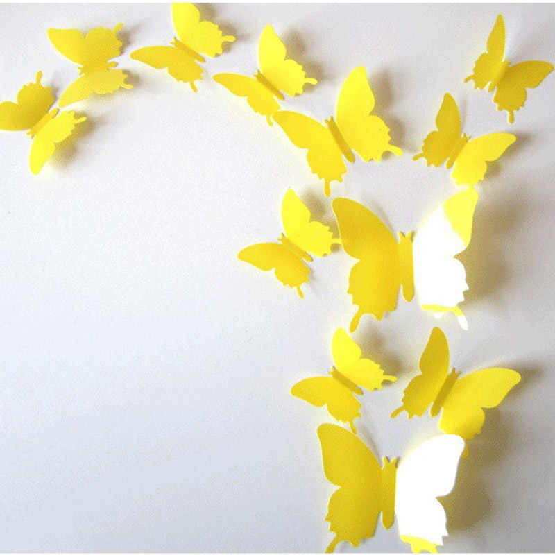 Keythemelife бабочка наклейки на стену 3D бабочки 1 комплект 12 шт. Декорации для домашний фридаж украшения 8 цветов EA