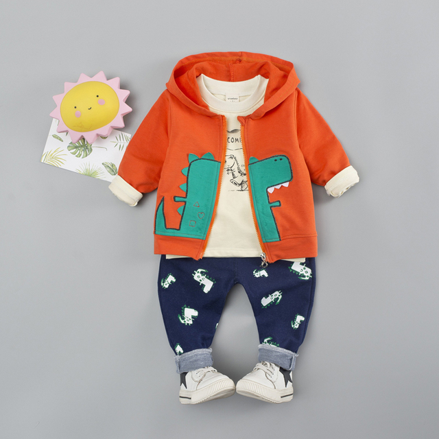 3-Pieces Cartoon Dinosaur Logo Design Top with Coat and Pants Set for Baby / Toddler Boy