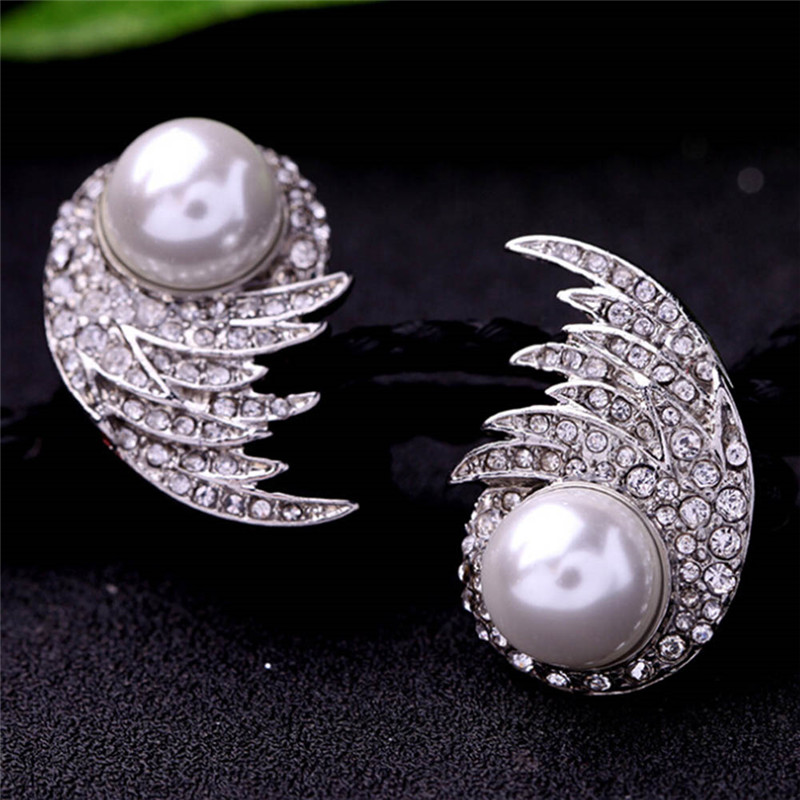 Black Friday Deal Luxury Wings Earring Simulated Pearl Stud Earring Bridal Jewelry Wholesale High Quality