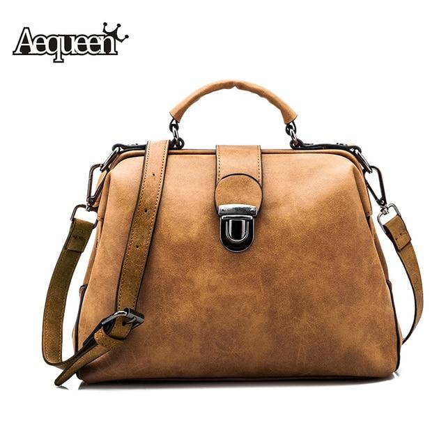 Aequeen Nubuck Leather Doctor Handbag Women Plaid Shoulder Bag Brown Vintage Retro Messenger Lady Tote Small