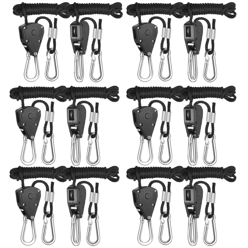 WorthWhile 2 Pcs Pulley Rope Ratchet Hanger Outdoor Camping Tent Lamp Light Torch Hanging Hook Pocket Multi Tools