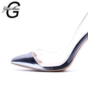 Image 2 - GENSHUO Silber Patent Leder frauen Schuhe High Heels Kleid Schuhe Sexy Transparent Klar PVC Damen Pumpen Für Frauen Stilettos