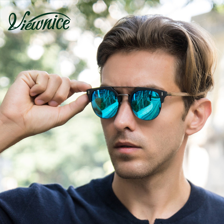 Viewnice 2018 Gafas de sol de madera Hombre Retro Gafas de sol Gafas de sol de diseñador Gafas de sol polarizadas de metal y madera Gafas de sol Oc