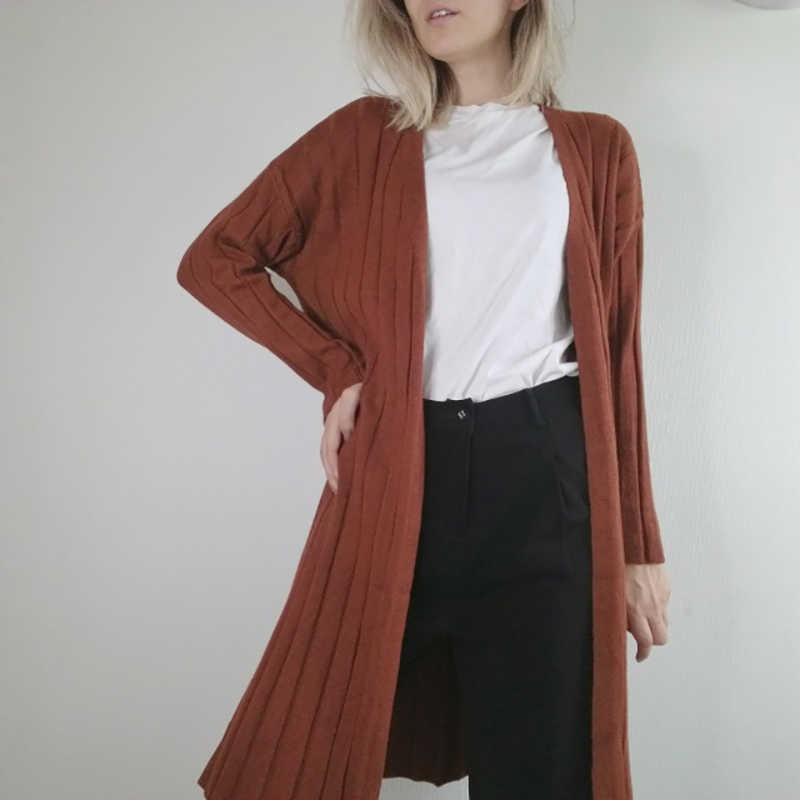 2d6498e0bdd ... Hirsionsan Women Cardigan 2018 Autumn Winter Knitted Open Stitch Sweaters  Casual Women Knitted Long Jackets Female