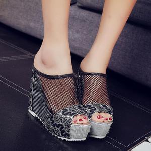 Image 3 - 여성 플립 퍼 높은 뒤꿈치 샌들 숙 녀 섹시 할로우 웨지 슬립 온 높은 뒤꿈치 신발 숙 녀 여름 샌들 슬리퍼 zapatos mujer