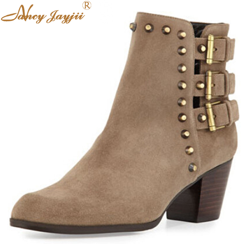 Fashion Studded Suede Ankle Rivet Low Heels Boots Shoes For Woman,Neutral Pointed Toe Outdoor&Snow Lala ikai Women