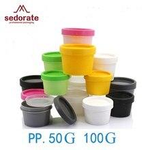 Sedorate 10 pçs/lote alta qualidade pp plástico garrafa cosméticos 50g 100 cgream frascos recarregáveis recipientes de garrafa JX001-10