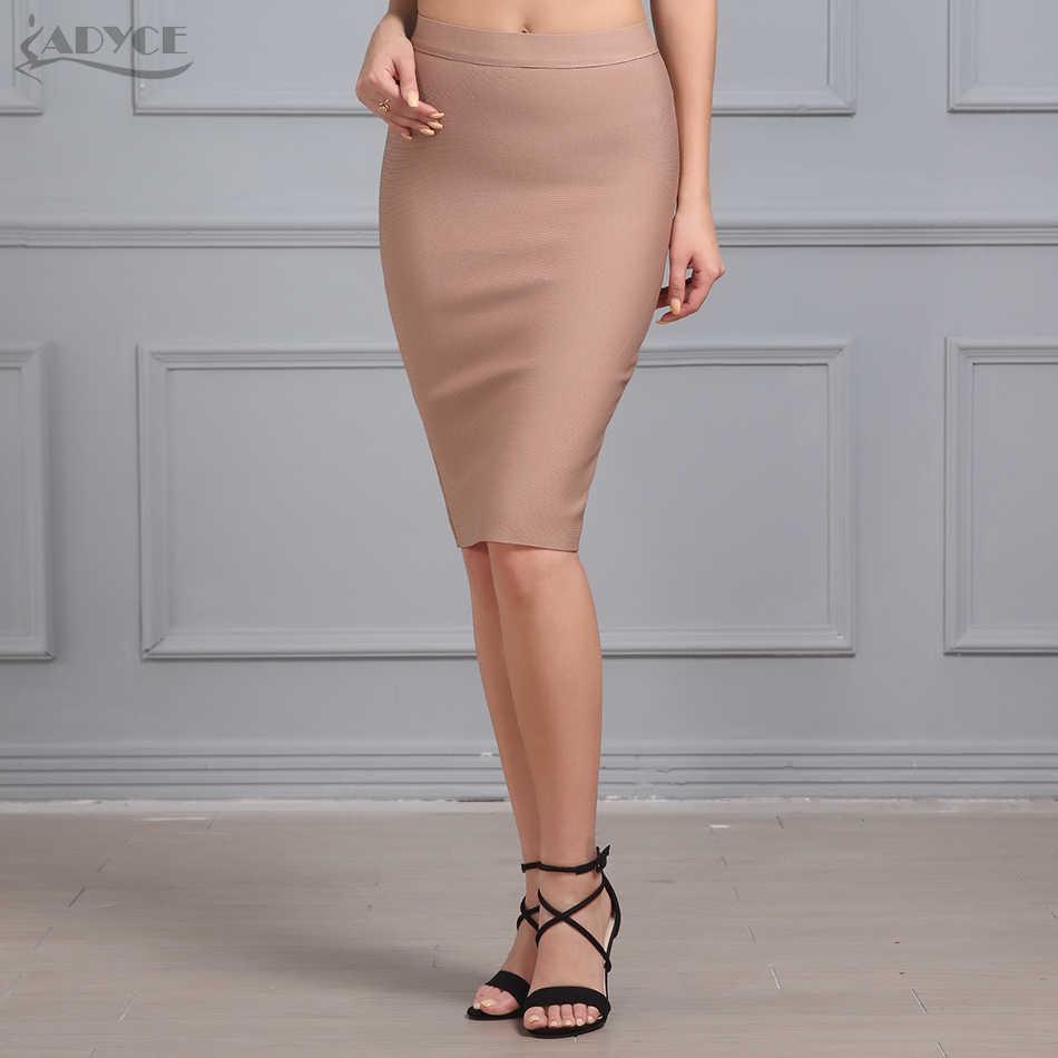 Женская повязка юбка до колена ADYCE, обтягивающая юбка-карандаш в черном, белом, красном, бежевом цвете, в стиле звезд