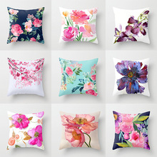 Vintage Rose Flower Cushion Cover Throw Pillow for Sofa  Car Bed Mediterranean Style Case