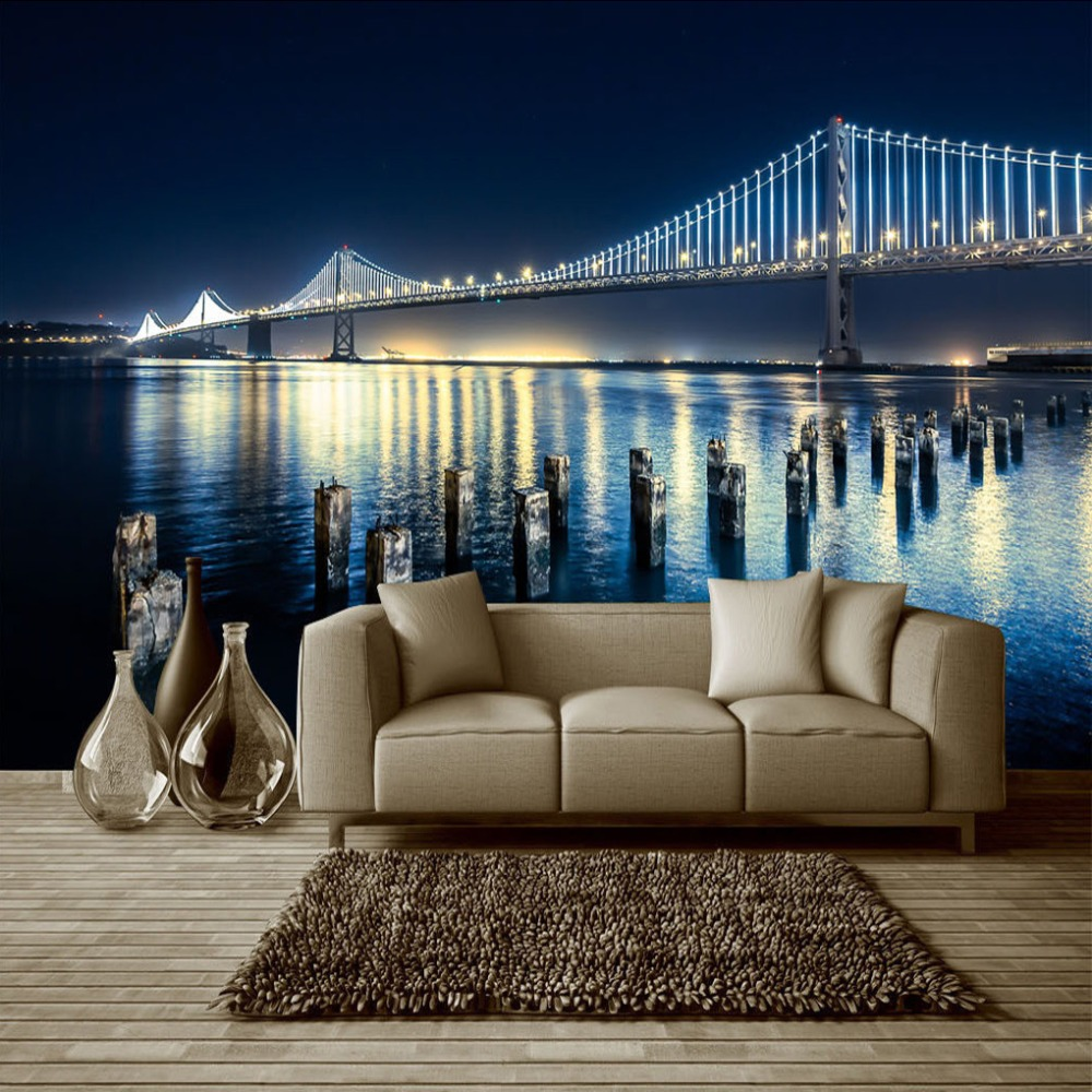 Custom Size 3D Photo Wallpaper City Night Bridge Murales De Pared Living Room TV Background Wall Painting Wallpaper For Walls 3D large painting home decor relief green flowers hotel background modern mural for living room murales de pared 3d wallpaper