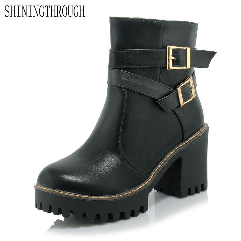 Nouveau mode cheville bottes femme 2018 femmes bottes western bottes épais  talons hauts bottes grande taille 34 43 dans Bottines de Chaussures sur