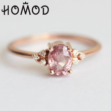 HOMOD Cute Rose Gold Color Rings For Women Romantic Wedding Pink Crystal CZ Love Gifts Jewelry