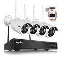 Sannce p2p plug and play sem fio 4ch nvr kit 720 p Ao Ar Livre HD Visão Nocturna do IR Câmera De Segurança IP WI-FI CCTV sistema