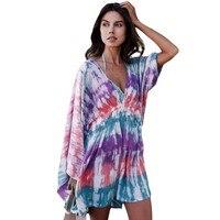 YSMARKET Multicolor tie dye drucken vintage stil hawaiian kleid muster v-ausschnitt sexy damen kleider für sommer F42211